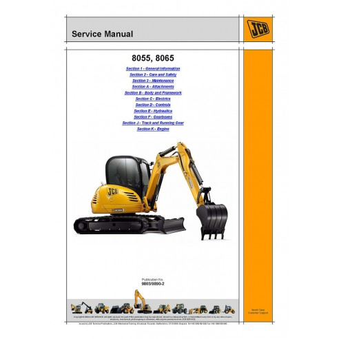 Service manual for JCB 8055, 8065 excavator, PDF-JCB
