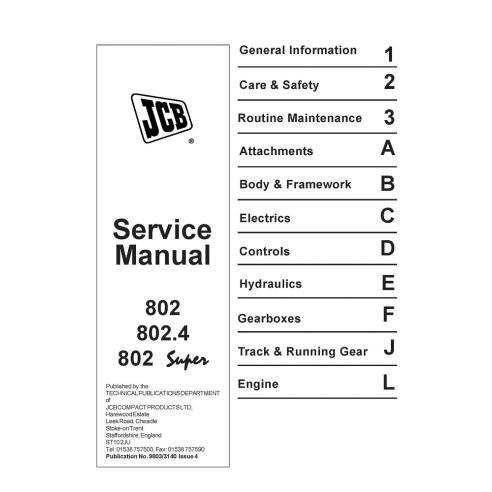 Manuel d'entretien de la mini-pelle JCB 802, 802.4, 802 Super mini - JCB manuels