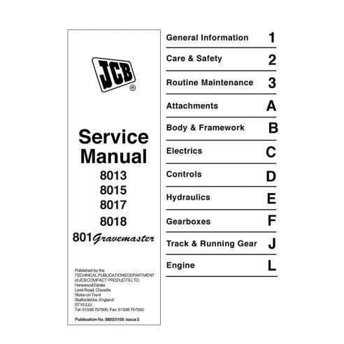 Manuel d'entretien de mini pelle JCB 8013, 8015, 8017, 8018, 801 Gravemaster - JCB manuels