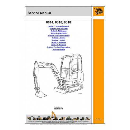 Jcb 8014, 8016, 8018 mini excavator service manual - JCB manuals