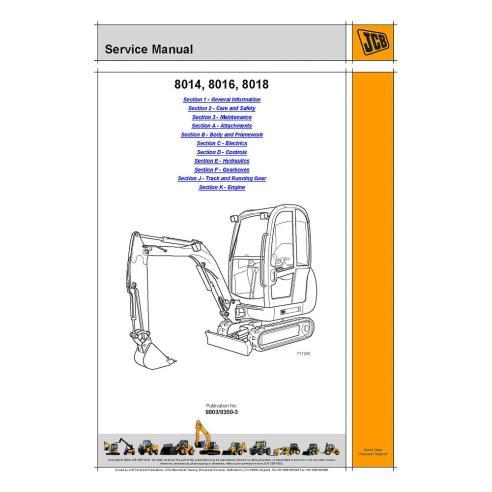 Service manual for JCB 8014, 8016, 8018 mini excavator, PDF-JCB