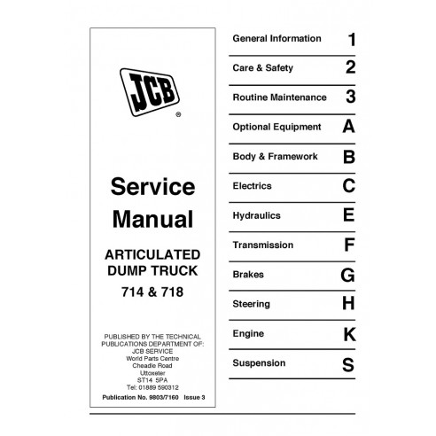 Service manual for JCB 714, 718 articulated truck, PDF-JCB