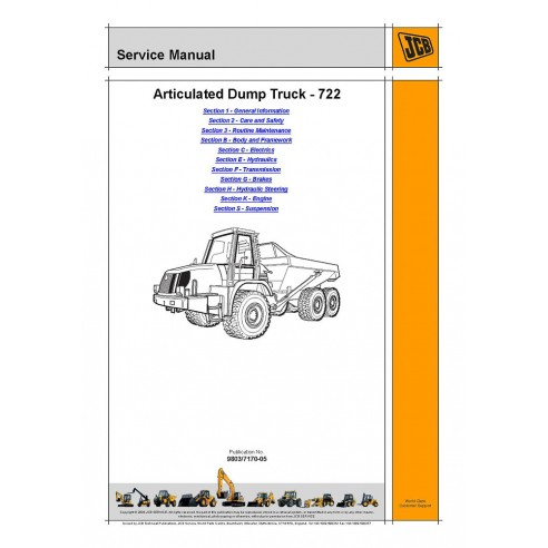 Service manual for JCB 722 articulated truck, PDF-JCB