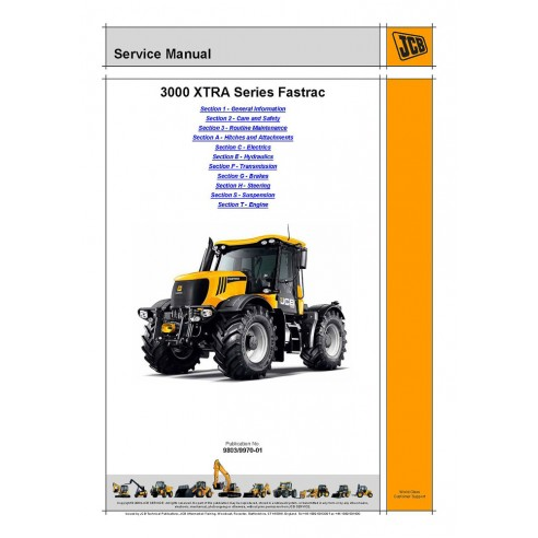 Service manual for JCB 3000 XTRA Series Fastrac tractor, PDF-JCB