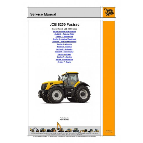 Jcb 8250 Fastrac tractor service manual - JCB manuals