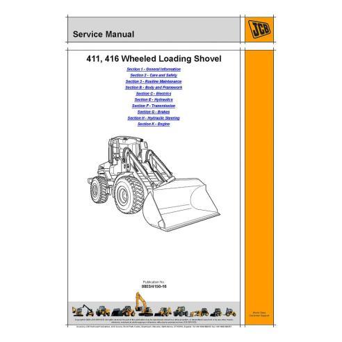Manual de serviço da carregadeira de rodas Jcb 411, 416 - JCB manuais