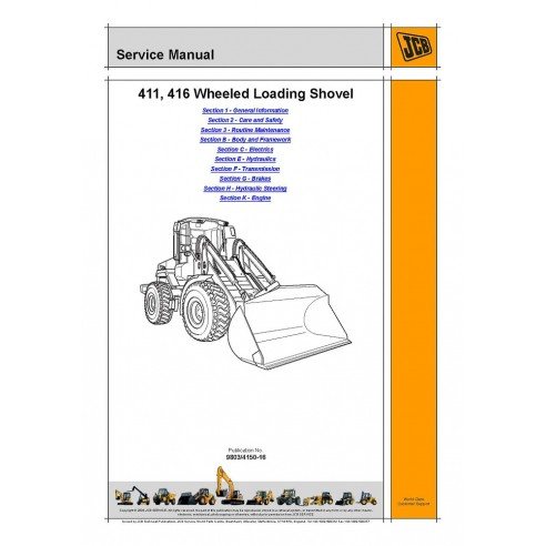 Service manual for JCB 411, 416 wheel loader, PDF-JCB