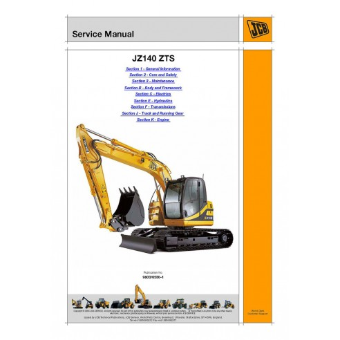 Jcb JZ140 ZTS excavator service manual - JCB manuals