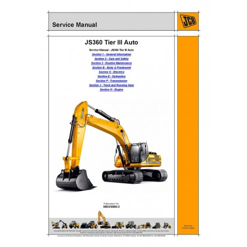 Manual de serviço da escavadeira automotiva Jcb JS360 Tier III - JCB manuais