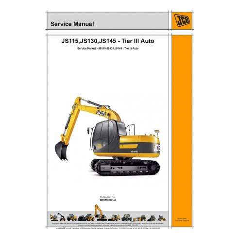 Jcb JS115, JS130, JS145 - Manual de serviço da escavadeira automotiva Tier III - JCB manuais