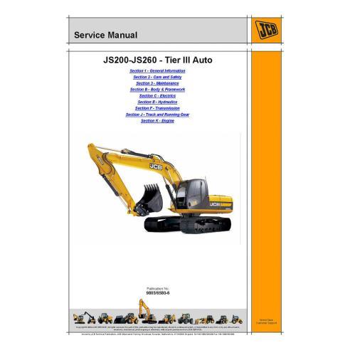 Jcb JS200 - JS260 Tier III Manual de servicio de la excavadora automática - JCB manuales