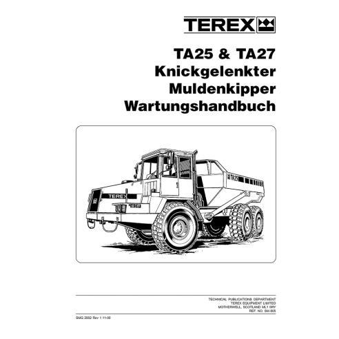 Manual de mantenimiento del camión articulado Terex TA25, TA27 - Terex manuales