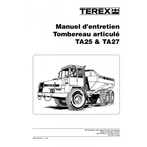 Terex TA25, TA27 articulated truck maintenance manual - Terex manuals