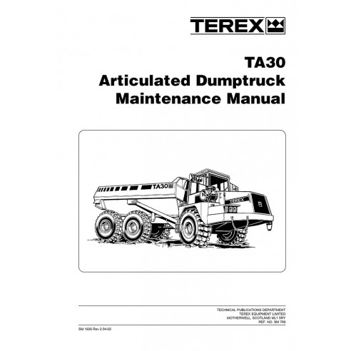Maintenance manual for Terex TA30 articulated truck, PDF-Terex