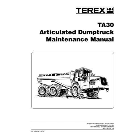 Terex TA30 articulated truck maintenance manual - Terex manuals