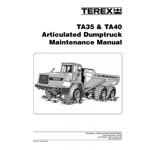 Maintenance manual for Terex TA35, TA40 articulated truck, PDF-Terex