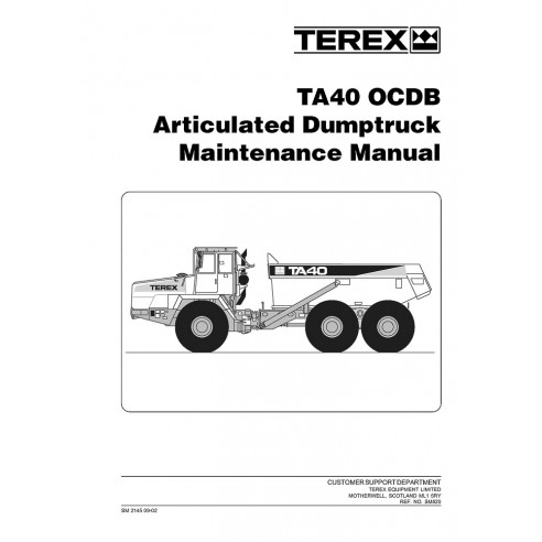 Terex TA40 OCDB articulated truck maintenance manual - Terex manuals