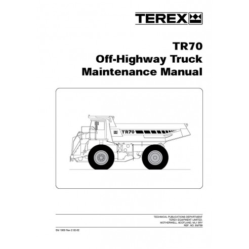 Maintenance manual for Terex TR70 off-highway truck, PDF-Terex