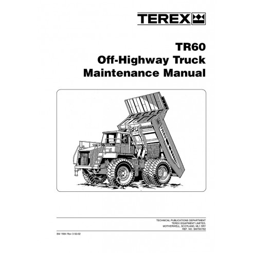 Maintenance manual for Terex TR60 off-highway truck, PDF-Terex