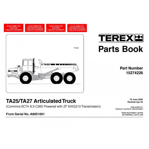 Parts book for Terex TA25, TA27 articulated truck, PDF-Terex