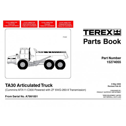 Parts book for Terex TA30 articulated truck, PDF-Terex