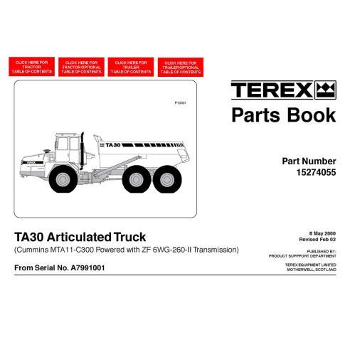 Terex TA30 articulated truck parts book - Terex manuals