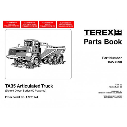 Parts book for Terex TA35 articulated truck, PDF-Terex