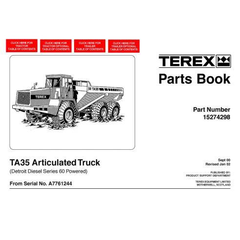 Terex TA35 articulated truck parts book - Terex manuals