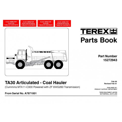 Parts book for Terex TA30 Coal Hauler articulated truck, PDF-Terex