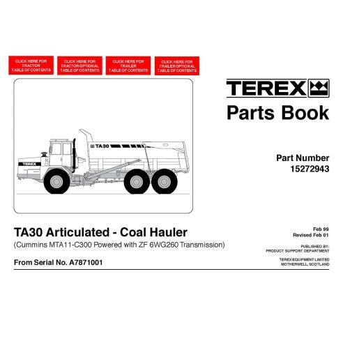 Terex TA30 Coal Hauler articulated truck parts book - Terex manuals