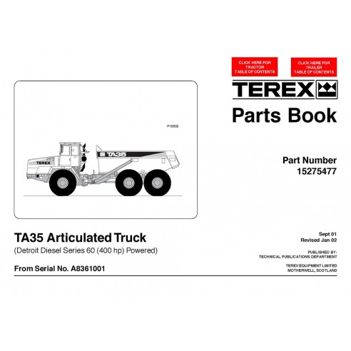 Parts book for Terex TA35 ver2 articulated truck, PDF-Terex