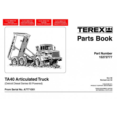 Parts book for Terex TA40 articulated truck, PDF-Terex