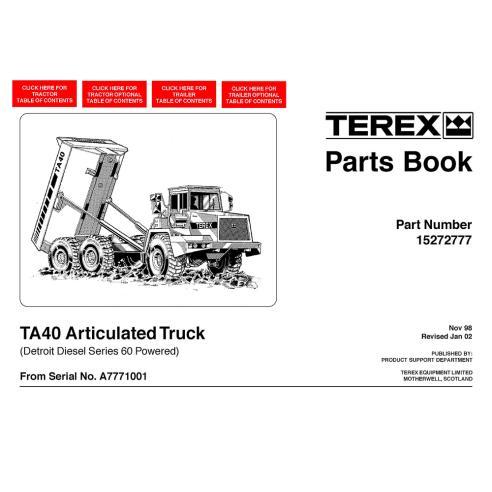 Terex TA40 articulated truck parts book - Terex manuals
