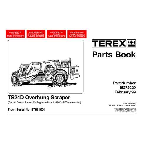 Livro de peças de raspador Terex TS24D - Terex manuais