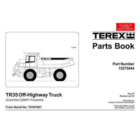 Libro de repuestos para camiones todoterreno Terex TR35 - Terex manuales