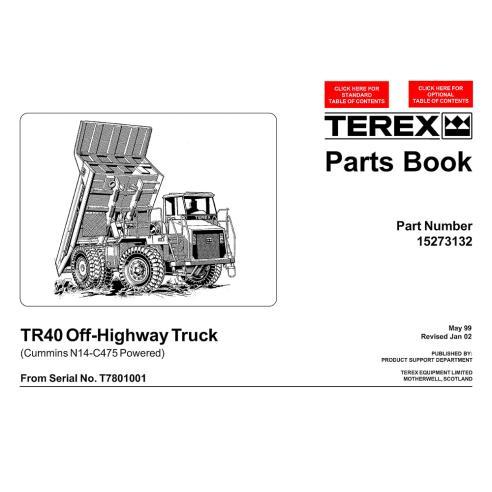 Libro de repuestos para camiones todoterreno Terex TR40 - Terex manuales