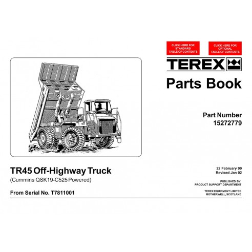 Livro de peças de caminhões fora-de-estrada Terex TR40 (QSK19-C525) - Terex manuais