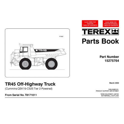 Livre de pièces de camion tout-terrain Terex TR45 - Terex manuels