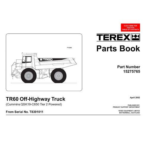 Libro de repuestos para camiones todoterreno Terex TR60 - Terex manuales