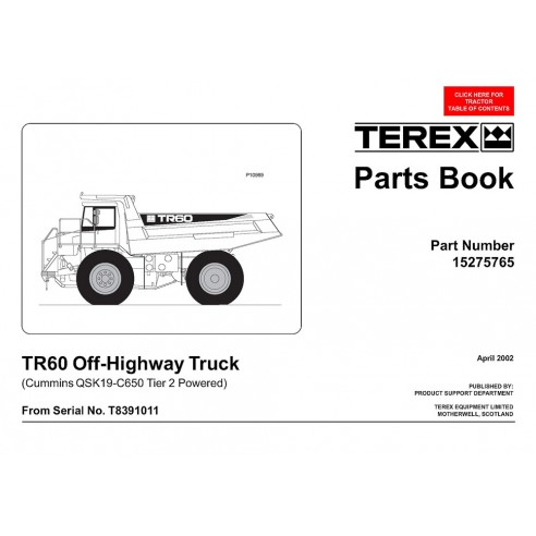 Parts book for Terex TR60 off-highway truck, PDF-Terex