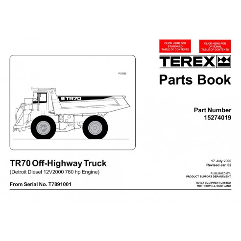 Parts book for Terex TR70 off-highway truck, PDF-Terex