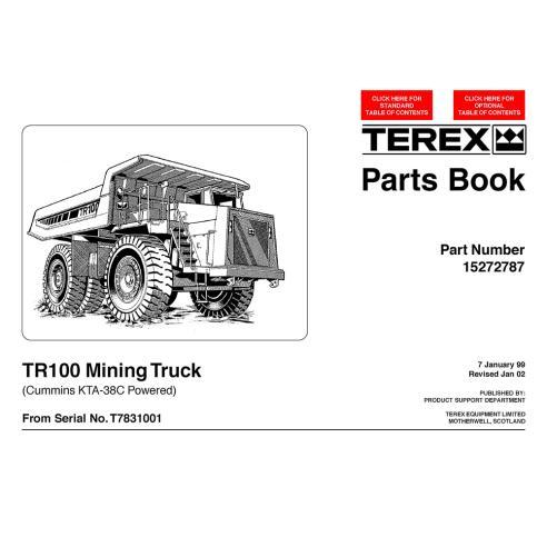 Libro de piezas de camión minero Terex TR100 (Cummins KTA-38C) - Terex manuales