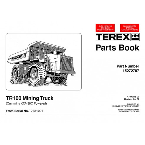 Terex TR100 (Cummins KTA-38C) mining truck parts book - Terex manuals