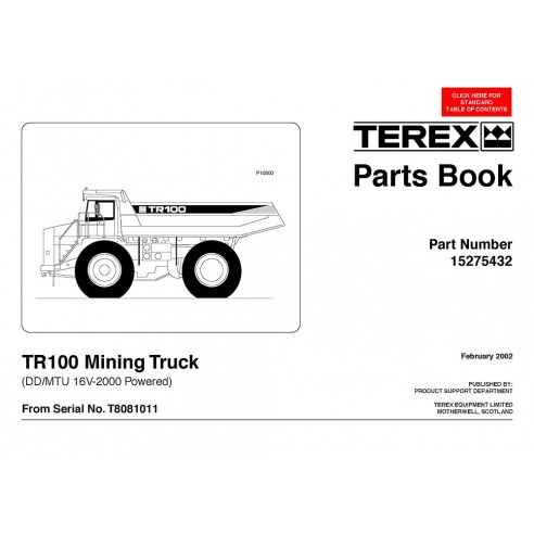 Livro de peças de caminhão de mineração Terex TR100 - Terex manuais