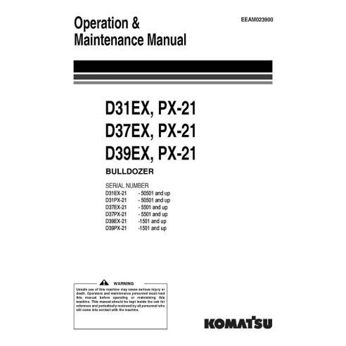 Manual de operação e manutenção do buldôzer Komatsu D31EX, D37EX, D39EX - Komatsu manuais
