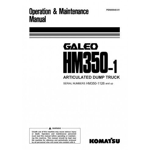 Operation & Maintenance manual for Komatsu GALEO HM350-1 articulated truck, PDF-Komatsu
