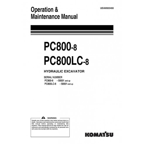 Operation & Maintenance manual for Komatsu PC800-8, PC800LC-8 excavator, PDF-Komatsu