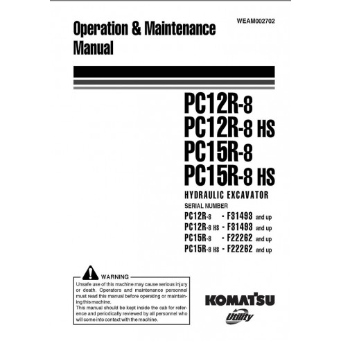 Operation & Maintenance manual for Komatsu PC12R-8, PC12R-8 HS, PC15R-8, PC15R-8 HS excavator, PDF-Komatsu