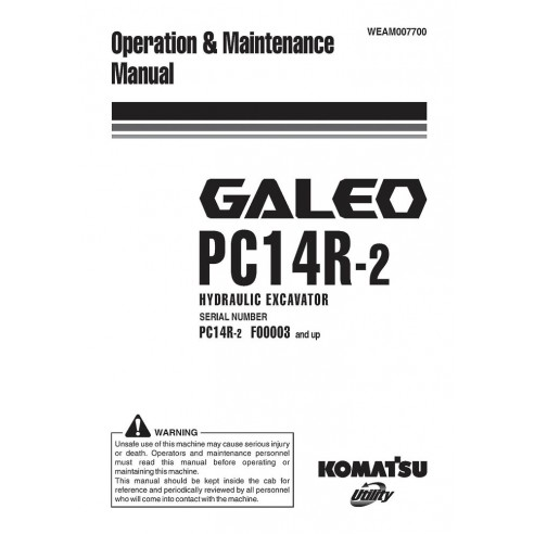 Operation & Maintenance manual for Komatsu GALEO PC14R-2 excavator, PDF-Komatsu