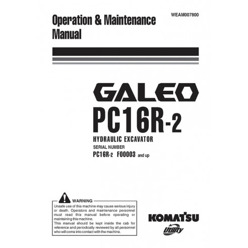 Komatsu GALEO PC14R-2 excavator operation & maintenance manual - Komatsu manuals